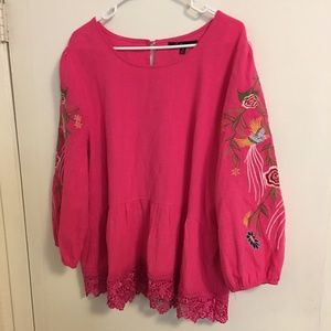 Caleooa Embroidered Blouse Size 1X